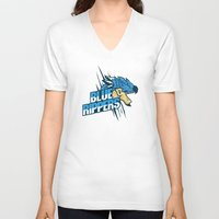 monster hunter V-neck T-shirts featuring Monster Hunter All Stars - Blue Rippers by Bleached ink