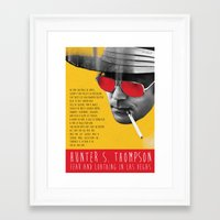 hunter s thompson Framed Art Prints featuring Hunter S. Thompson by Zmudart