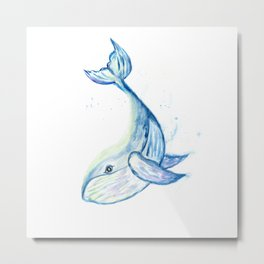 Cute whale watercolor Metal Print