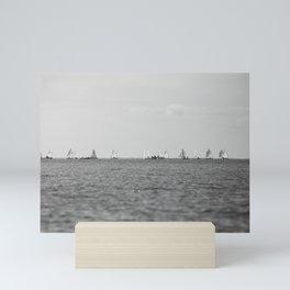 small boats out sailing in black and white - nautical photography Mini Art Print