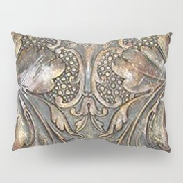 Golden Brown Carved Tooled Leather Pillow Sham