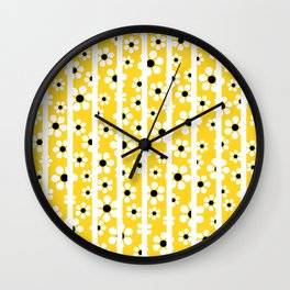 Striped Daisies - yellow - more colors Wall Clock