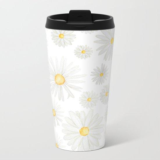 white daisy pattern watercolor Metal Travel Mug