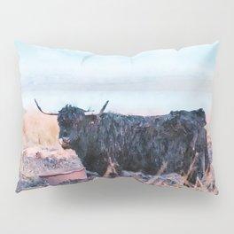 Black highlander cow watercolor painting Pillow Sham