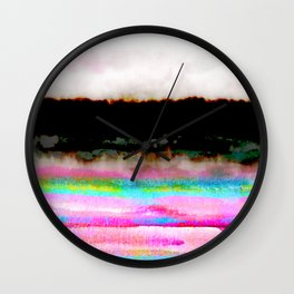 abstract landscape colorful modern painting Wall Clock