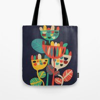 leaves Tote Bags featuring Wild Flowers by Picomodi