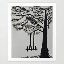 Lonely birds by the tree Art Print