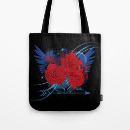 Roses and wings rock chic Tote Bag