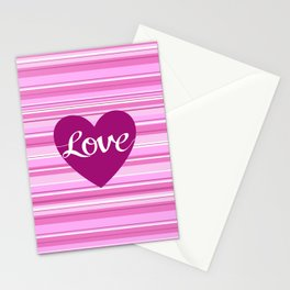 Love Script Heart on Stripes Pinks White Plum Stationery Cards
