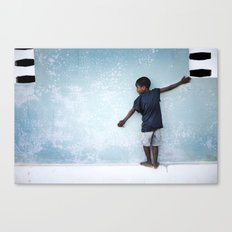 The Orphan and the Blue Wall Canvas Print