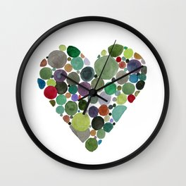 Green dots heart Wall Clock