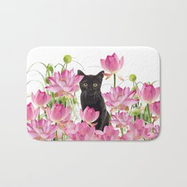Black Cat Lotos Flower Gras Bath Mat