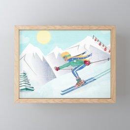 Skiing Girl Framed Mini Art Print