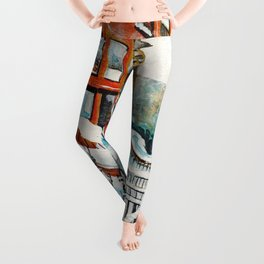 Brooklyn New York In Snow Storm Leggings