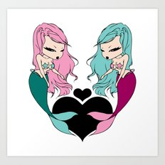 Mermaid Love Art Print