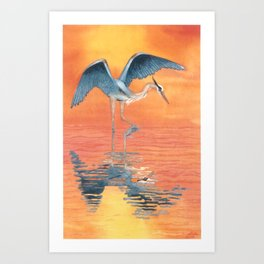Blue Heron dance Art Print