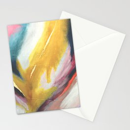Ambition: a colorful abstract piece in bold yellow, blue, pink, red, and gold Stationery Cards