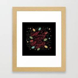 Merry & Bright (Dark) Framed Art Print