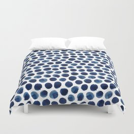 Large Indigo/Blue Watercolor Polka Dot Pattern Duvet Cover