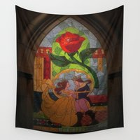 beauty and the beast Wall Tapestries featuring Beauty and the Beast by Jillian Stanton
