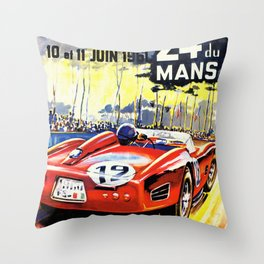 1961  Vintage Race Poster Throw Pillow