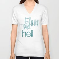 hell V-neck T-shirts featuring hell by Josh LaFayette