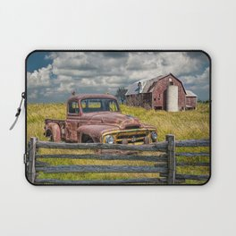 Pickup Truck behind wooden fence in a Rural Landscape Laptop Sleeve