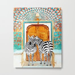 Take Your Stripes Wherever You Go Painting, Zebra Wildlife Architecture, Indian Palace Door Painting Metal Print
