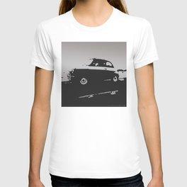 Fiat 500 classic, Gray on Black T-shirt