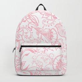 Pastel pink white henna hamsa Hand of Fatima floral mandala Backpack