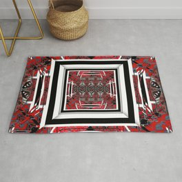NUMBER 221 RED BLACK GRAY WHITE PATTERN Rug