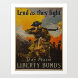 Vintage poster - Lend as They Fight Art Print