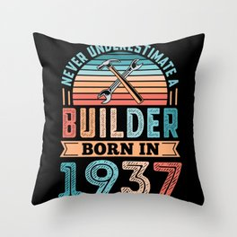 Builder born in 1937 90th Birthday Gift Building Throw Pillow