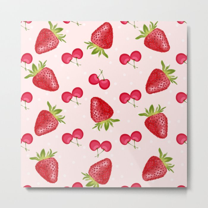 Strawberries Cherries Fiesta Pattern Metal Print