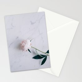 Blush Pink Peony on Marble Surface Stationery Cards