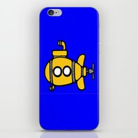 yellow submarine iPhone & iPod Skins featuring Yellow Submarine by Caroline Blicq