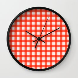 Classic Red and White Gingham Wall Clock