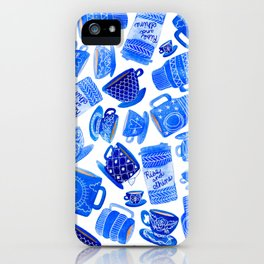Coffee Mugs and Teacups - A study in blues iPhone Case