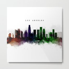 Los Angeles Watercolor Skyline Metal Print