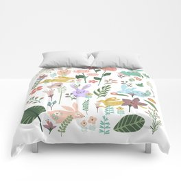 Springtime In The Bunny Garden Of Floral Delights Comforters