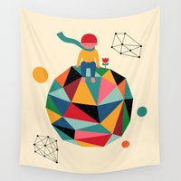 planet Wall Tapestries featuring Lonely planet by Andy Westface
