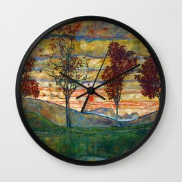 Four Trees with Red Leaves at Sunrise landscape painting by Egon Schiele Wall Clock
