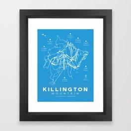 Killington Mountain, Ski Trail Map Framed Art Print