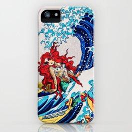 Mermaids love surfing iPhone Case