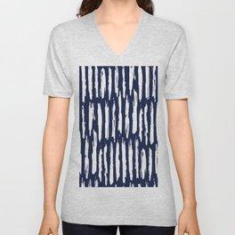 Vertical Dash White on Navy Blue Paint Stripes Unisex V-Neck