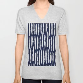 Vertical Dash White on Navy Blue Paint Stripes Unisex V-Neck