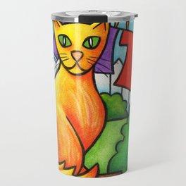 Cat On Fence Travel Mug