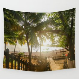Sunset Behind Palm Trees Wall Tapestry