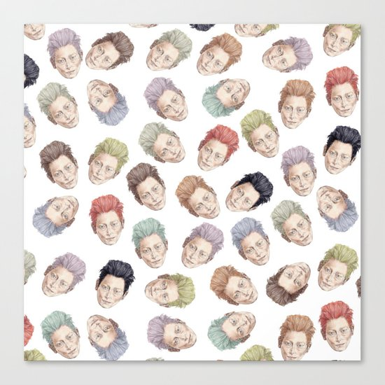 Tilda Heads on Cream | Hair Pattern Canvas Print