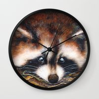 raccoon Wall Clocks featuring Raccoon by Patrizia Ambrosini
